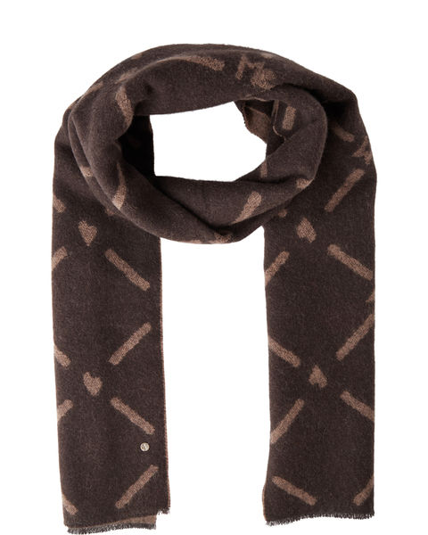 Monogram scarf coffee bean